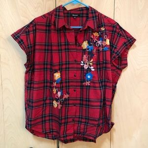 Madewell plaid floral top
